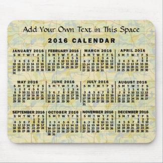 Mousepad Mapa velho do calendário mensal de 2016 anos