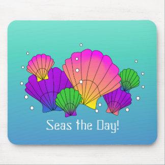 Mousepad Mares o dia! Seashells das caraíbas com bolhas