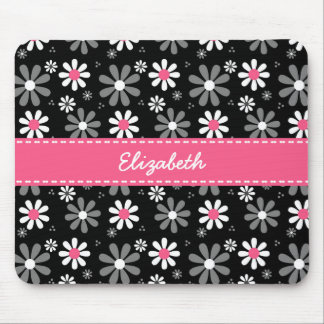 Mousepad Margaridas femininos cor-de-rosa e pretas bonitos