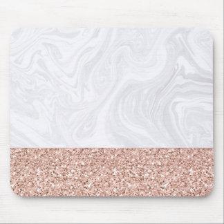 Mousepad Mármore branco mergulhado no brilho cor-de-rosa