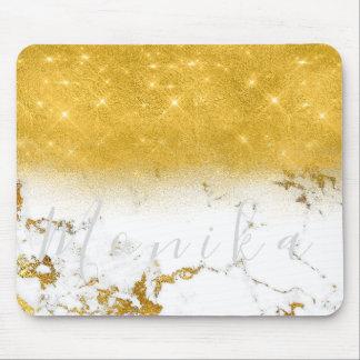 Mousepad Mármore cinzento branco do ouro conhecido mínimo