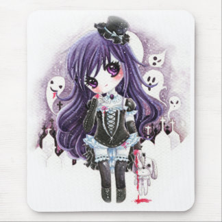 Mousepad Menina bonito do vampiro com fantasmas e o coelho