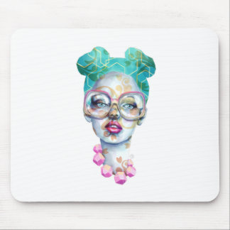 Mousepad Menina com arte Funky do Watercolour dos vidros