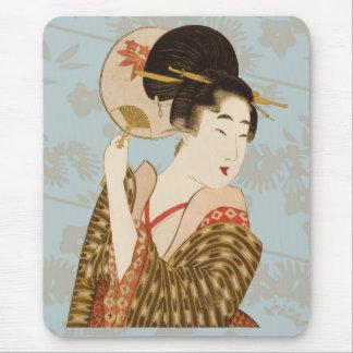 Mousepad Menina de gueixa japonesa do vintage no quimono