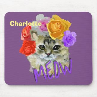 Mousepad Meow cor-de-rosa florido da mantilha do gato