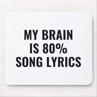 Mousepad Meu cérebro é poemas líricos de uma canção de 80