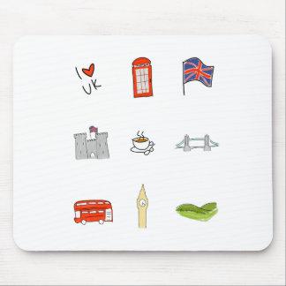 Mousepad Mim coração Reino Unido, amor britânico, marcos de