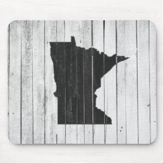 Mousepad Minnesota de madeira rústico preto e branco