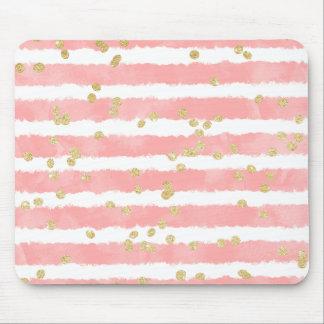 Mousepad Moderno coram os confetes cor-de-rosa do ouro das