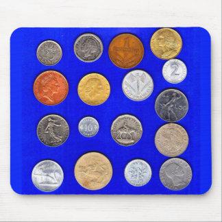Mousepad moedas estrangeiras do lotsa