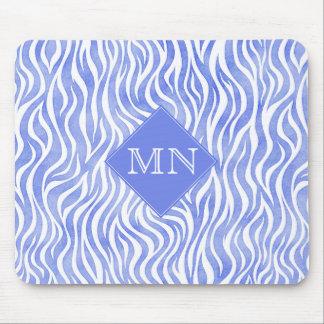 Mousepad Monograma azul do impressão   da zebra da aguarela
