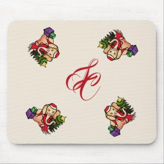 Mousepad Monograma bonito do elefante do Natal do estilo do