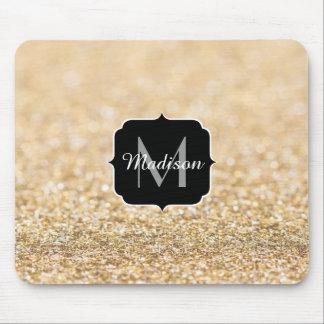 Mousepad Monograma bonito dos sparkles do brilho do ouro do