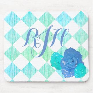 Mousepad Monograma Checkered do rosa do azul