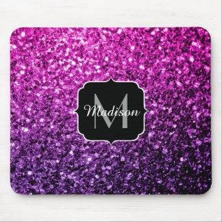 Mousepad Monograma cor-de-rosa roxo dos sparkles do brilho