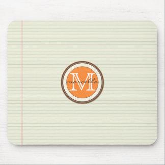 Mousepad Monograma da laranja do fundo do papel de nota