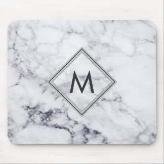 Mousepad Monograma de mármore branco & cinzento moderno