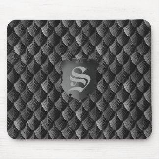 Mousepad Monograma do preto da armadura de escala do dragão