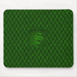 Mousepad Monograma do verde esmeralda de armadura de escala