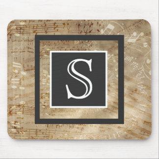 Mousepad Monograma envelhecido do papel de partitura