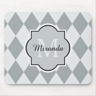 Mousepad Monograma feminino cinzento macio formal e nome de
