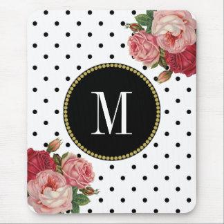 Mousepad Monograma floral da antiguidade branca preta