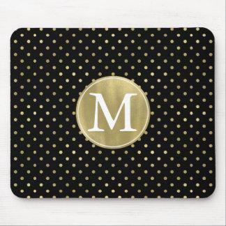 Mousepad Monograma Glam e preto do ouro dos pontos