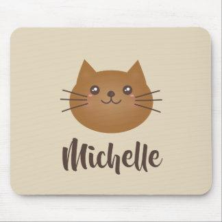 Mousepad Monograma lunático do amante bonito do gato do
