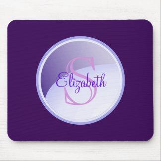 Mousepad Monograma personalizado em um círculo do roxo da