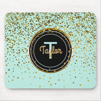 Mousepad Monograma verde Glam dos pontos | dos confetes do