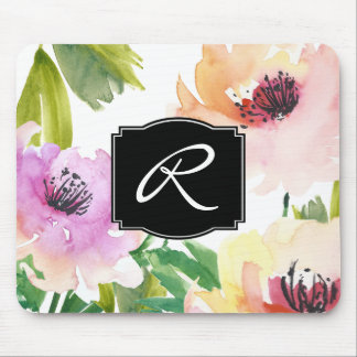 Mousepad Monogrammed floral da aguarela Pastel