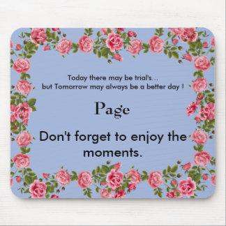 Mousepad Motivation_Monogram_Pink Roses-Blue_Home-Work