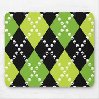 Mousepad Motivo verde de Argyle do crânio