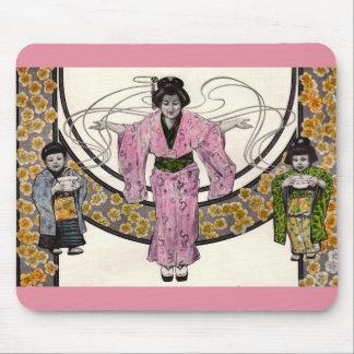 Mousepad mulher 1906 e crianças japonesas do nouveau da