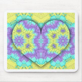 Mousepad Multi festivo vibrante+Forma colorida do coração