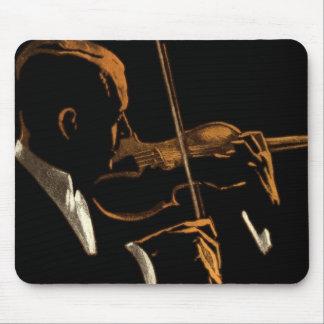 Mousepad Músico do vintage, violinista que joga a música do