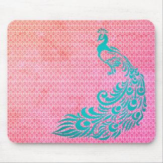 Mousepad Na moda-Vintage-Rosa-Weave-Pavão-Cerceta-Unisex