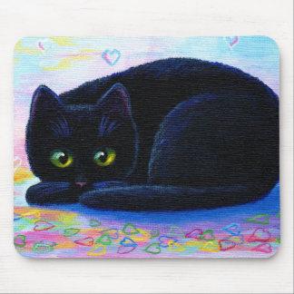 Mousepad Namorados Creationarts dos corações do gato preto