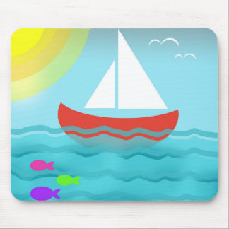 Mousepad Navegando o chique náutico do marinho azul do