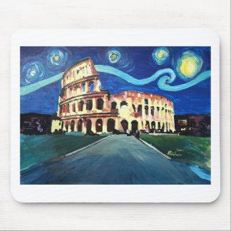 Mousepad Noite estrelado sobre Colloseum em Roma Italia