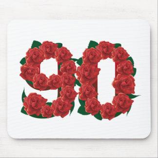 Mousepad Número 90 ou rosas vermelhas do aniversário do 90