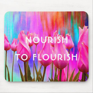 Mousepad Nutra para florescer | cor-de-rosa, tulipas