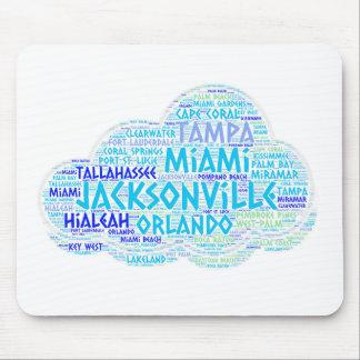 Mousepad Nuvem ilustrada com as cidades do estado EUA de