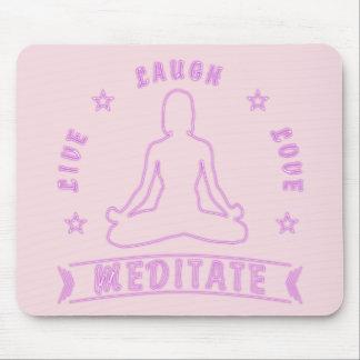 Mousepad O amor vivo do riso Meditate texto fêmea (o néon)