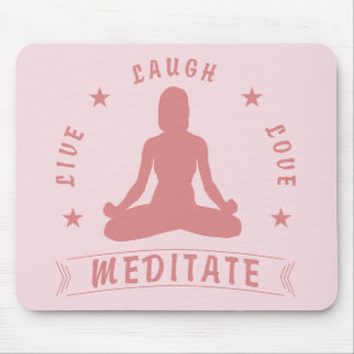 Mousepad O amor vivo do riso Meditate texto fêmea (o rosa)