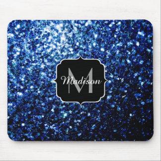 Mousepad O brilho azul escuro bonito sparkles monograma