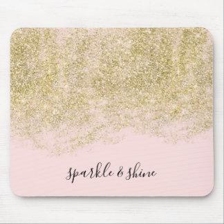 Mousepad O brilho do falso do ouro cora faísca cor-de-rosa