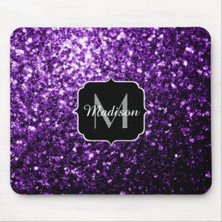 Mousepad O brilho roxo escuro bonito sparkles monograma