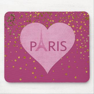 Mousepad O confete Glam do ouro da torre Eiffel pontilha |