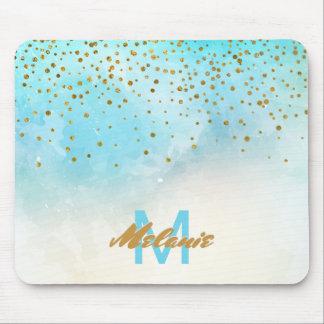 Mousepad O confete Glam do ouro pontilha a turquesa da